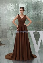 free shipping 2014 hot seller brides maid plus size evening gown handmade flowers new chiffon cap sleeve elie saab dress