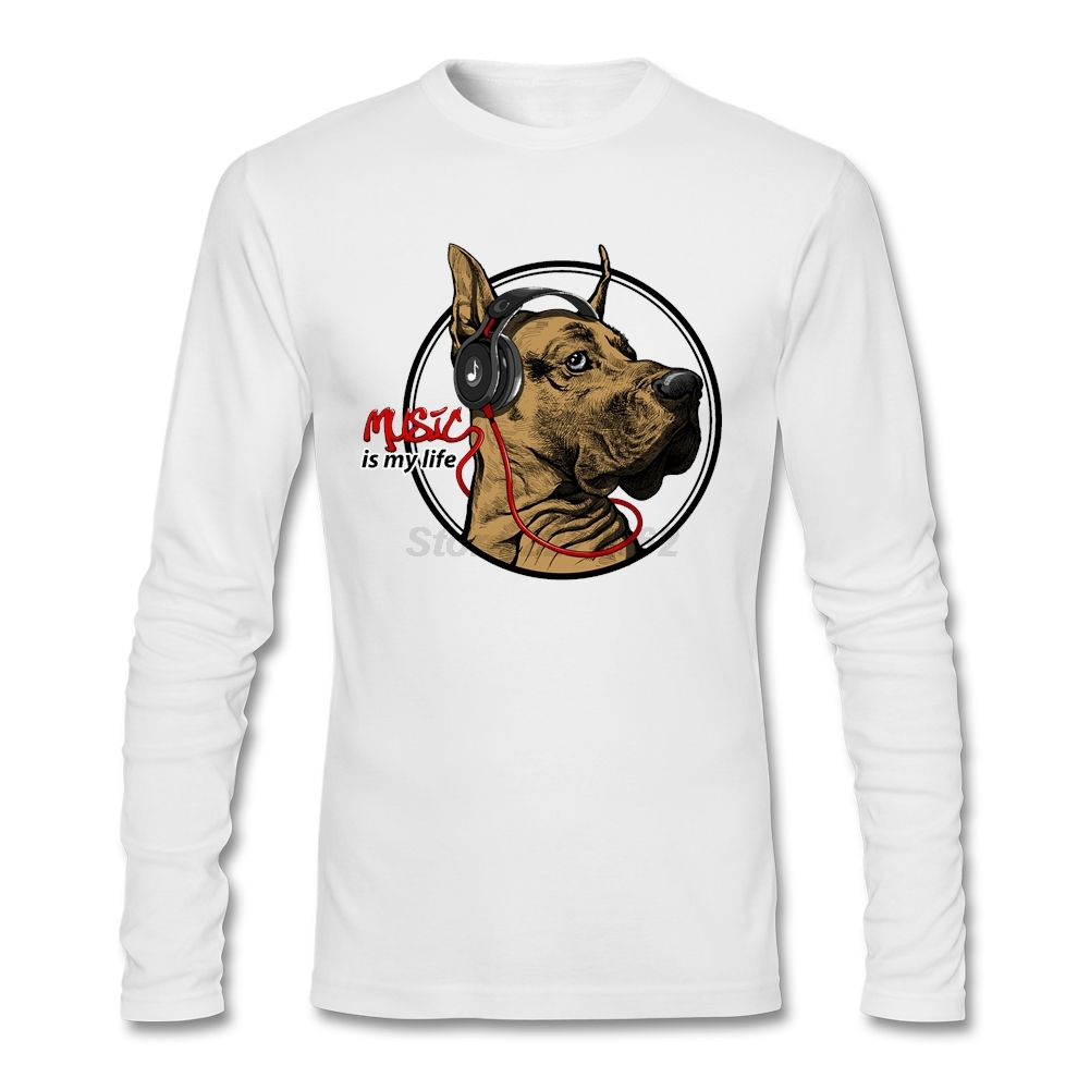 Design your own t-shirt for dogs - Music Dogs Luxury T Shirt Men Long Sleeve 100 Cotton Blouses Create Your Own