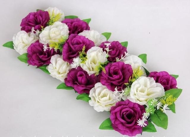 2pcs 18 heads whiteplum artificial silk rose flower arch frame in a 2pcs 18 heads whiteplum artificial silk rose flower arch frame in a row decorative wedding road mightylinksfo