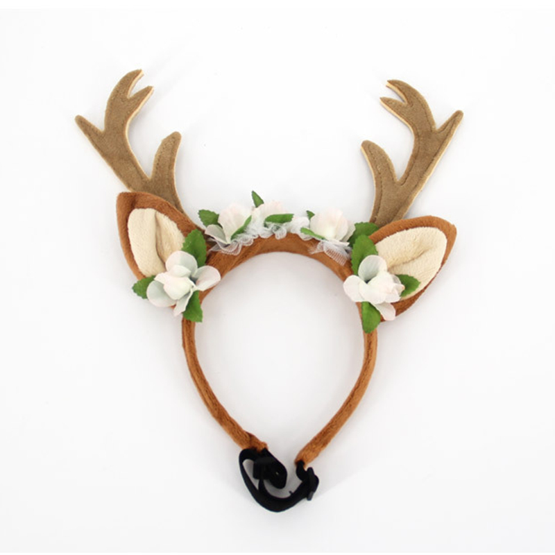 DoreenBeads Pet Hair Accessories Antlers Hairband Headband for Cats Puppy Large Dogs Cosplay Elk for Christmas Halloween Party 1