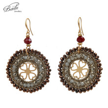 Badu Handmade Wholesale Round Crochet Crystal Hollow Dangle Earrings Retro Vintage Party Jewelry for Women Statement Earring