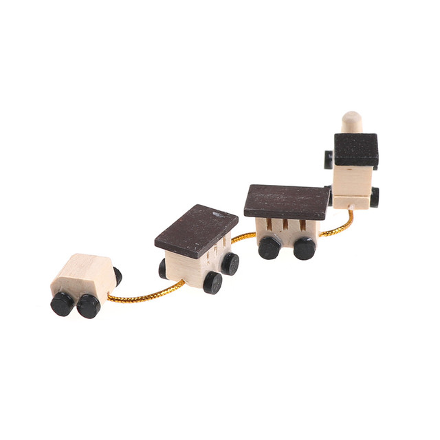 Mini Wooden Train Simulation Model Toys 1/12 Dollhouse Miniature Accessories For Doll House Decoration