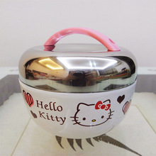 Life83 hallo kitty doppelschichten apple stil edelstahl isolierten bento lunchbox thermos frischhaltedose lunchbox