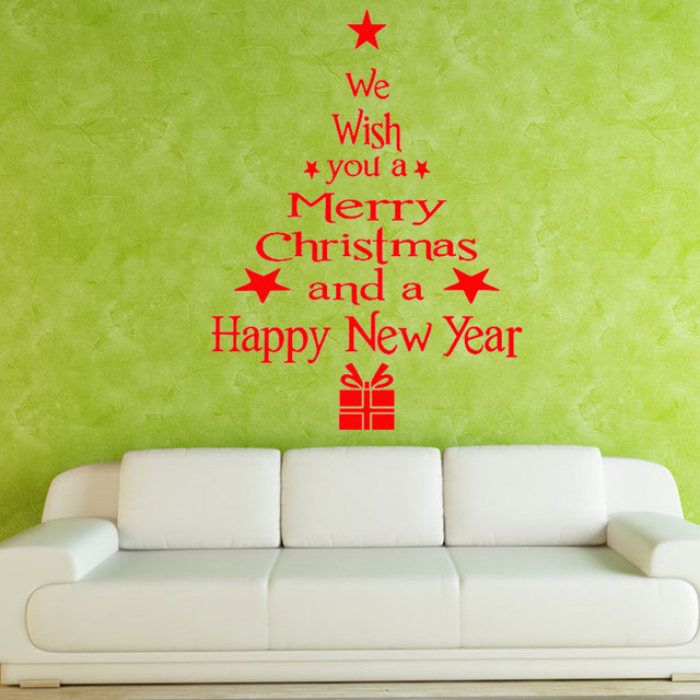 43cm*24cm Wall Stickers Christmas Tree Letters Stick Wall Art Decal ...
