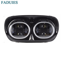 FADUIES Black 7 Inch Motorcycle Projector Day Maker Dual LED Headlight with DRL For Harley Daymaker Road Glide 2004-2013