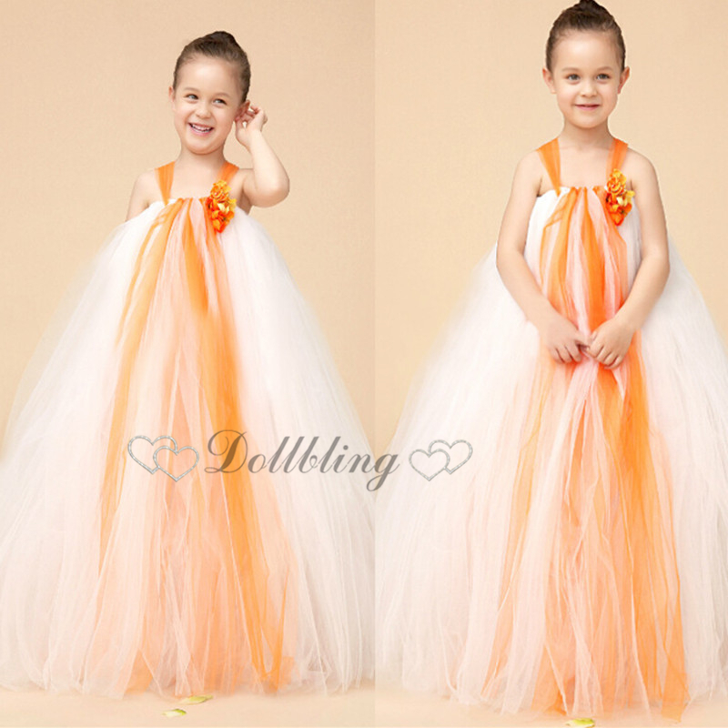 ellie bridal orange flower baptism 1st birthday fall country dress pincess tutu wedding gown dress d1018