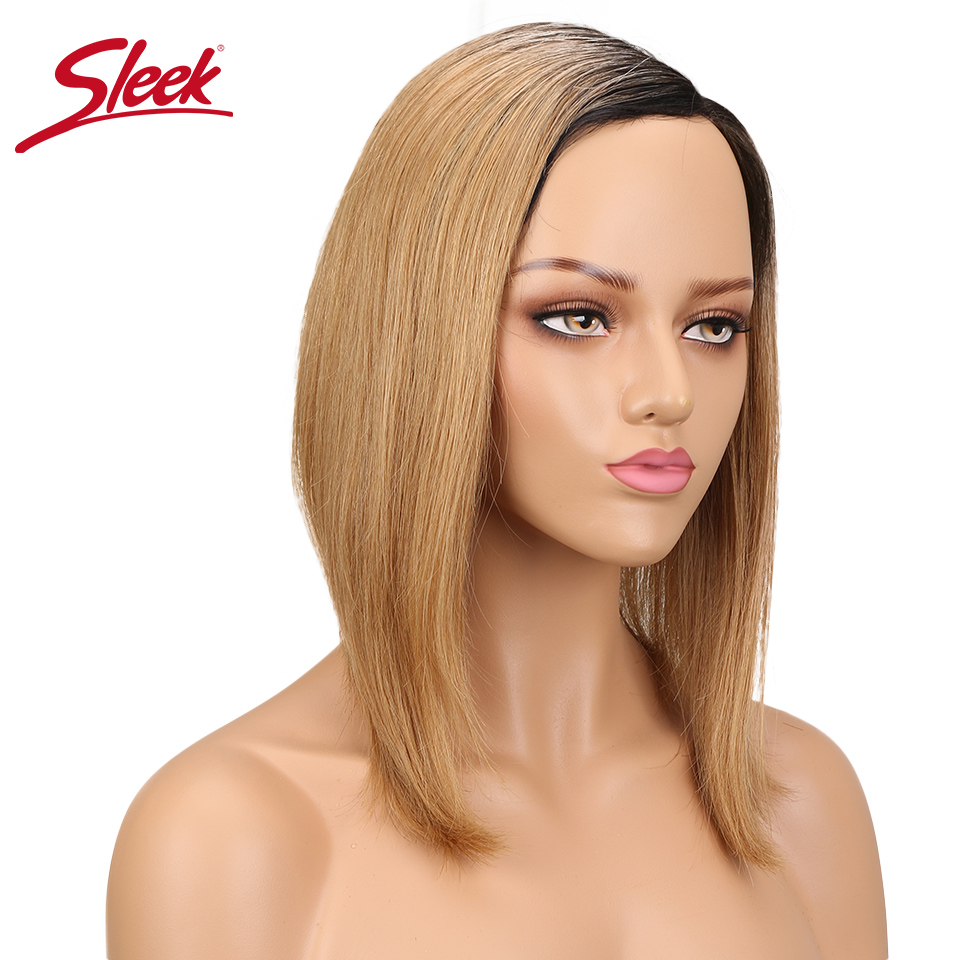 Sleek Side Part Bob Wig Non Lace Wig Human Hair Extension Brazilian Remy Hair Wigs Straight Color TT1B/27