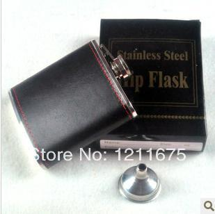 6oz Stainless Steel With PU COVER Hip Flask Pocket Bottle for Whiskey Liquor with Funnel