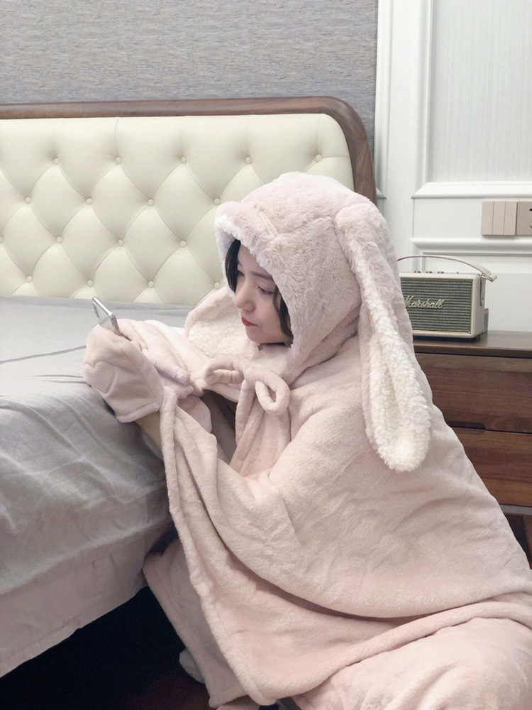 Cute Pink Comfy Blanket Sweatshirt Winter Warm Adults and Children Rabbit Ear Hooded Fleece Blanket Sleepwear Huge Bed Blankets 75