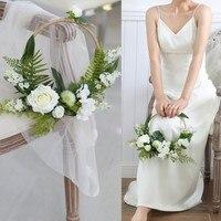 Jonnafe Round Green Artificial Floral Bridal Bridesmaid Bouquet Hand Tied Wedding Decoration Accessories