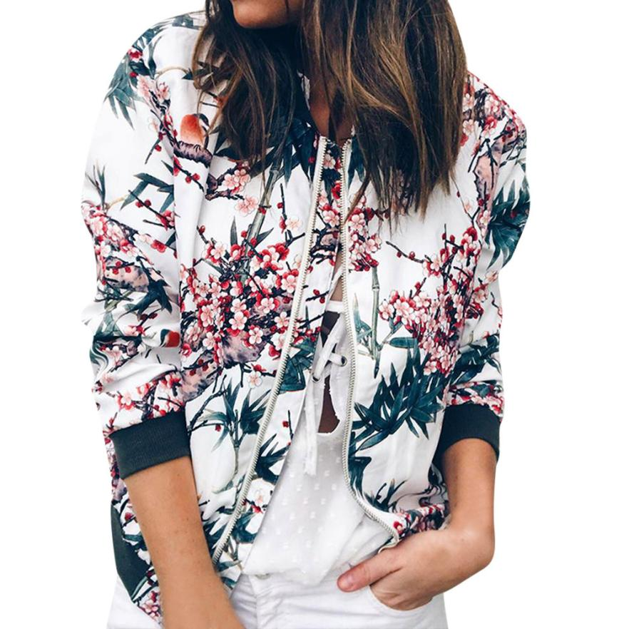 Outerwear & Coats Jackets Womens Ladies Retro Floral Zipper Up Bomber Outwear Casual coats and jackets women 18AUG10 4