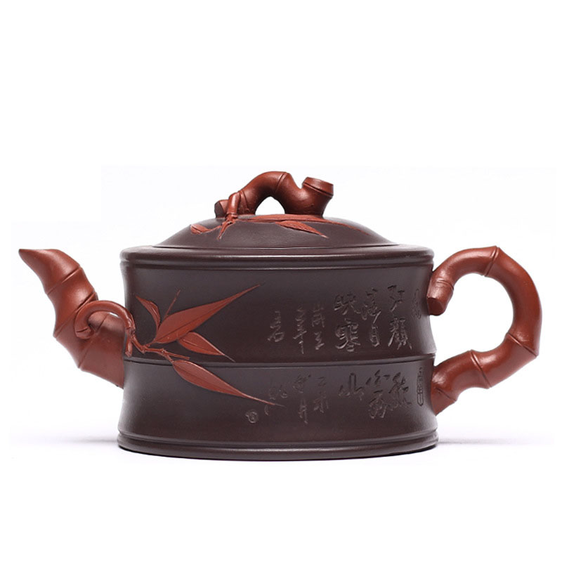 Chinese Handmade Yixing Tea Set Zisha Teapot Double Color Purple Clay Joint Bamboo Tea Pot Teapot Kung Fu Tea Set 320ml
