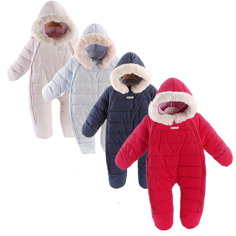 2017 Winter Thick Cotton-padded Baby Rompers Baby Girl Hooded Warm Snowsuit Baby Soft Cotton Lining Jumpsuit  Baby Boy Clothes winter baby rompers organic cotton baby hooded snowsuit jumpsuit long sleeve thick warm baby girls boy romper newborn clothing