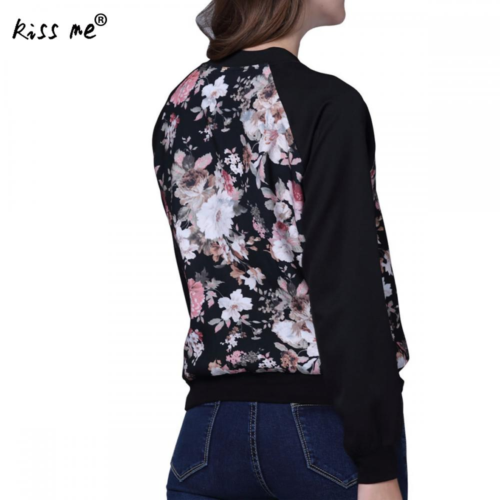2017 New Arrival Floral Bomber Jacket Women Round Neck Long Sleeve Vintage Jacket Coat Casual Fashion Zipper Jacket Streetwear
