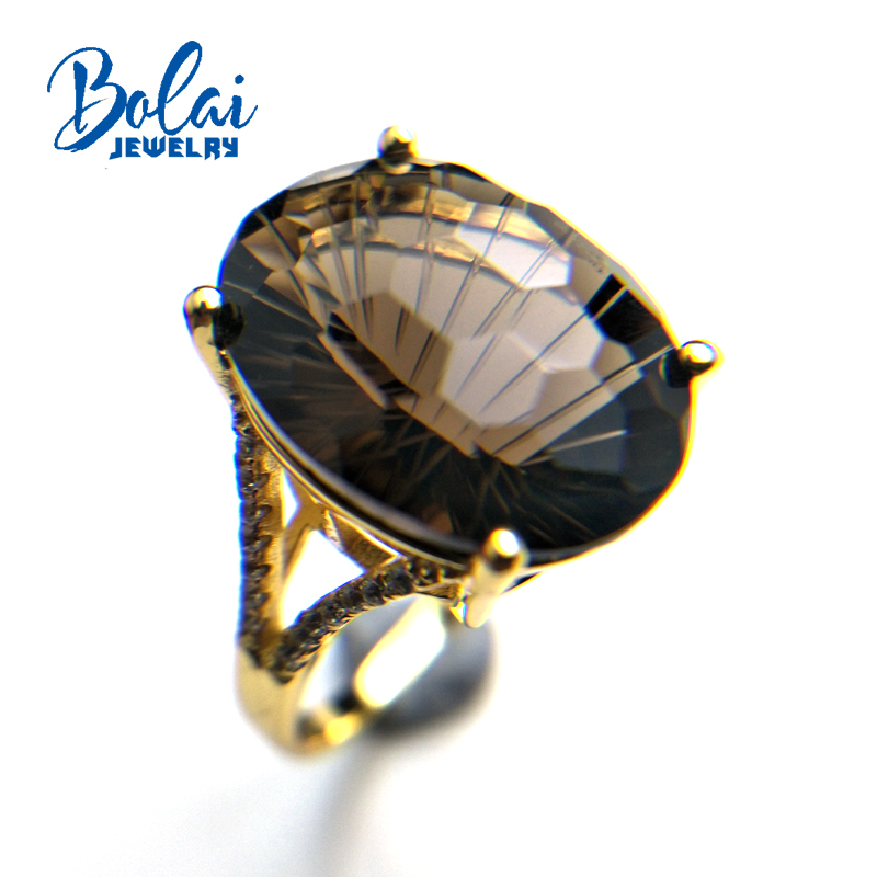 Bolaijewelry Natural oval13 18 mm football cut smoky quartz gemstone Ring 925 sterling silver fine jewelry