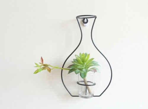 を北欧スタイルの鉄フレーム花瓶壁掛け植物ドライフラワーラックボトル diy creativite 装飾棚