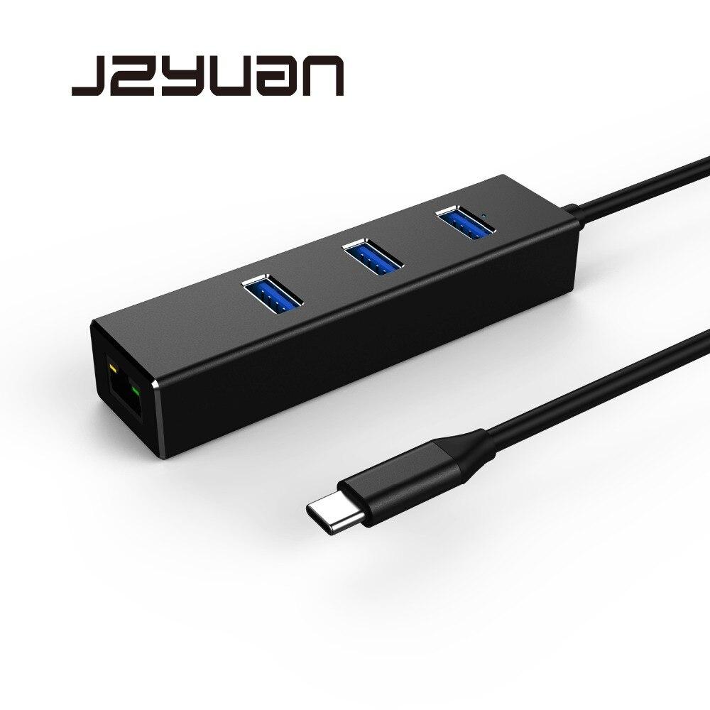 все цены на JZYuan USB-C Ethernet Network Card Adapter USB C HUB to Ethernet RJ45 LAN Adapter With 3 Port USB 3.0 For Macbook Pro Laptop онлайн