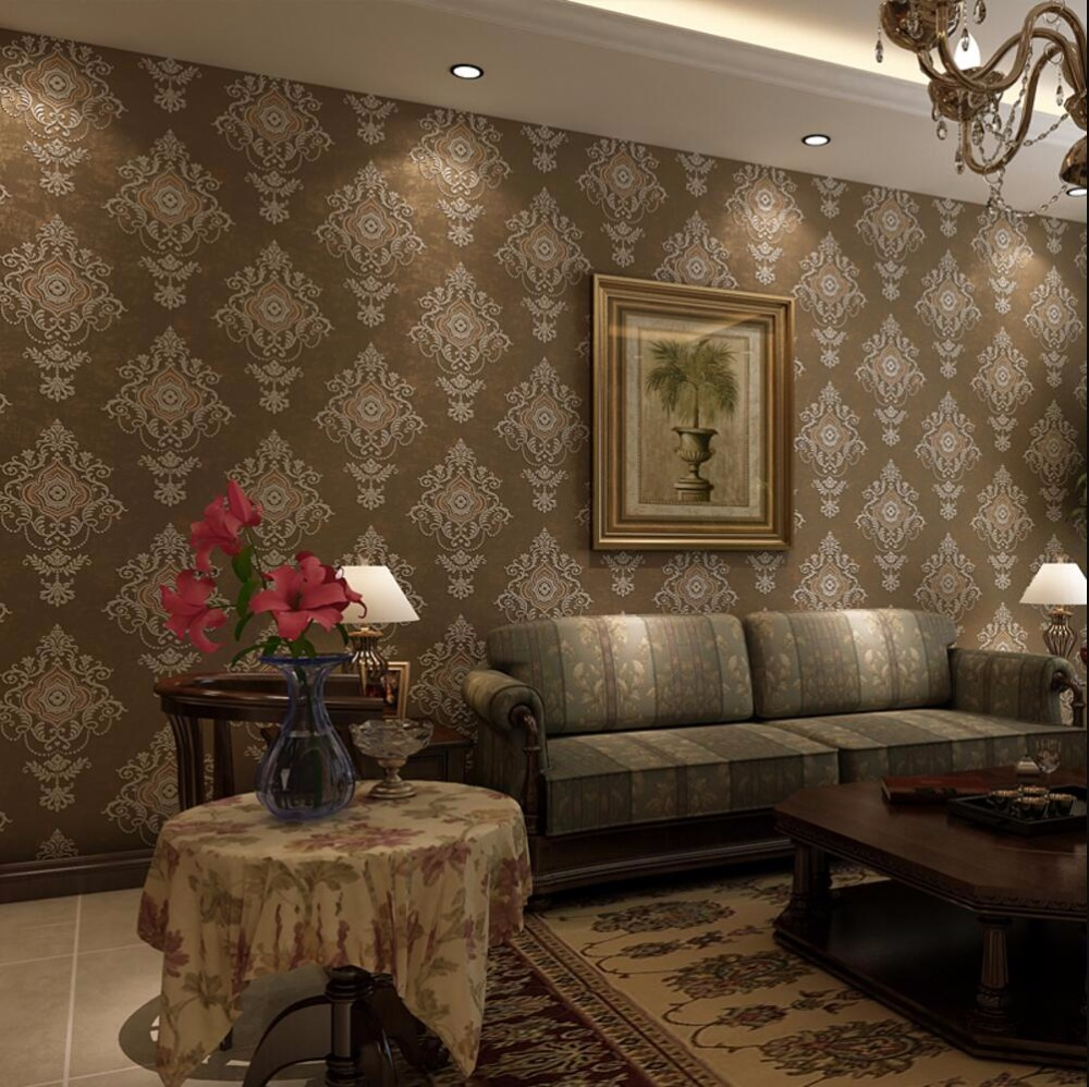 Damask wallpaper vintage fashion bronzier 3d three for Fashion wallpaper for bedrooms