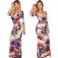 V-cuello three quarters piso-longitud bodycon lápiz vestidos de la venta caliente larga de las mujeres vestidos de bohemia impreso floral maxi vestidos