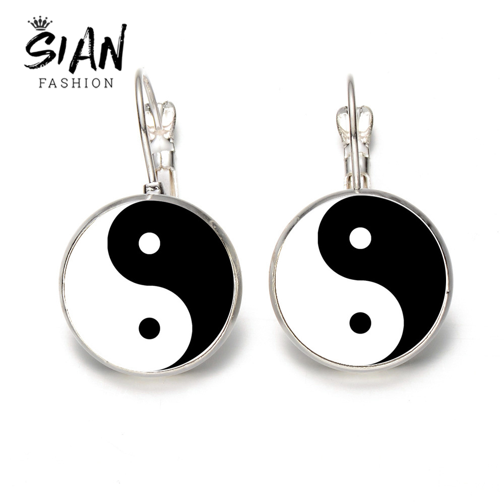 BLACK DROPPING EARRINGS basic circle black glass earrings