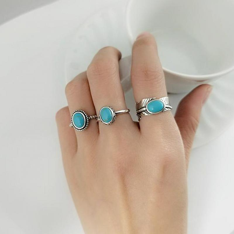 Real Pure 925 Sterling Silver Rings For Women With Turquoise Stone Vintage Opening Type Leaf Oval Shape Turkish Jewelry