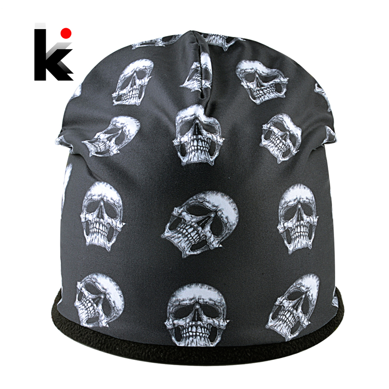 Super Cool Skull Pattern Hats For Men And Women Personality 3D Printing Hip Hop Caps Unisex Winter Warm   Skullies     Beanies   Gorros