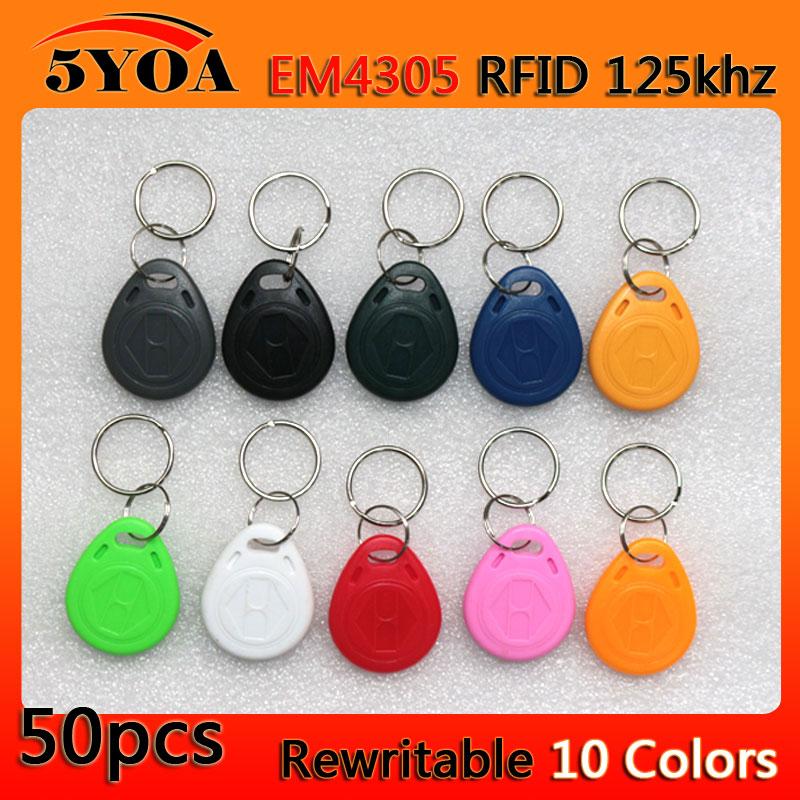 цены 5YOA 50pcs em4305 Copy Rewritable Writable Rewrite Duplicate RFID Tag Proximity ID Token Key Keyfobs Ring 125Khz Card Access