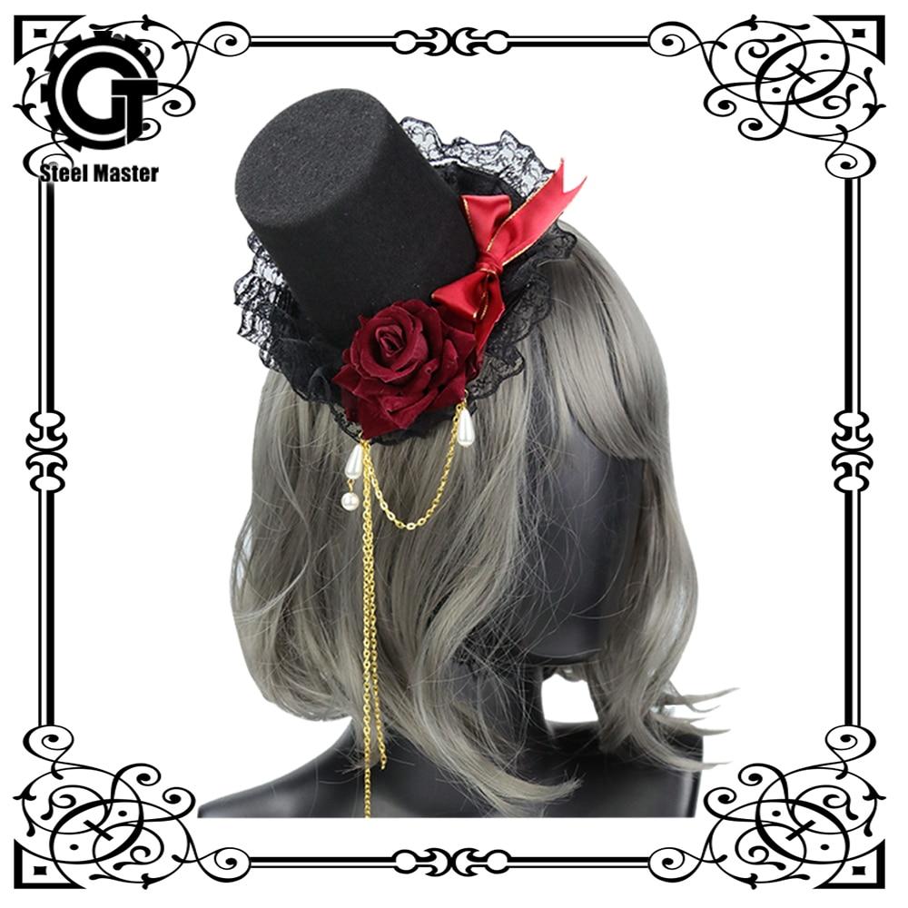 2018 Gothic Lolita Cute Simulation Rose Cross Top Hat Hairpin Headband KC Hairpin Ladies Banquet Rose Bow Hat Hairpin