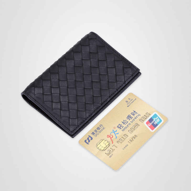 2017 new cowhide leather card holder woven card bag slim short ...
