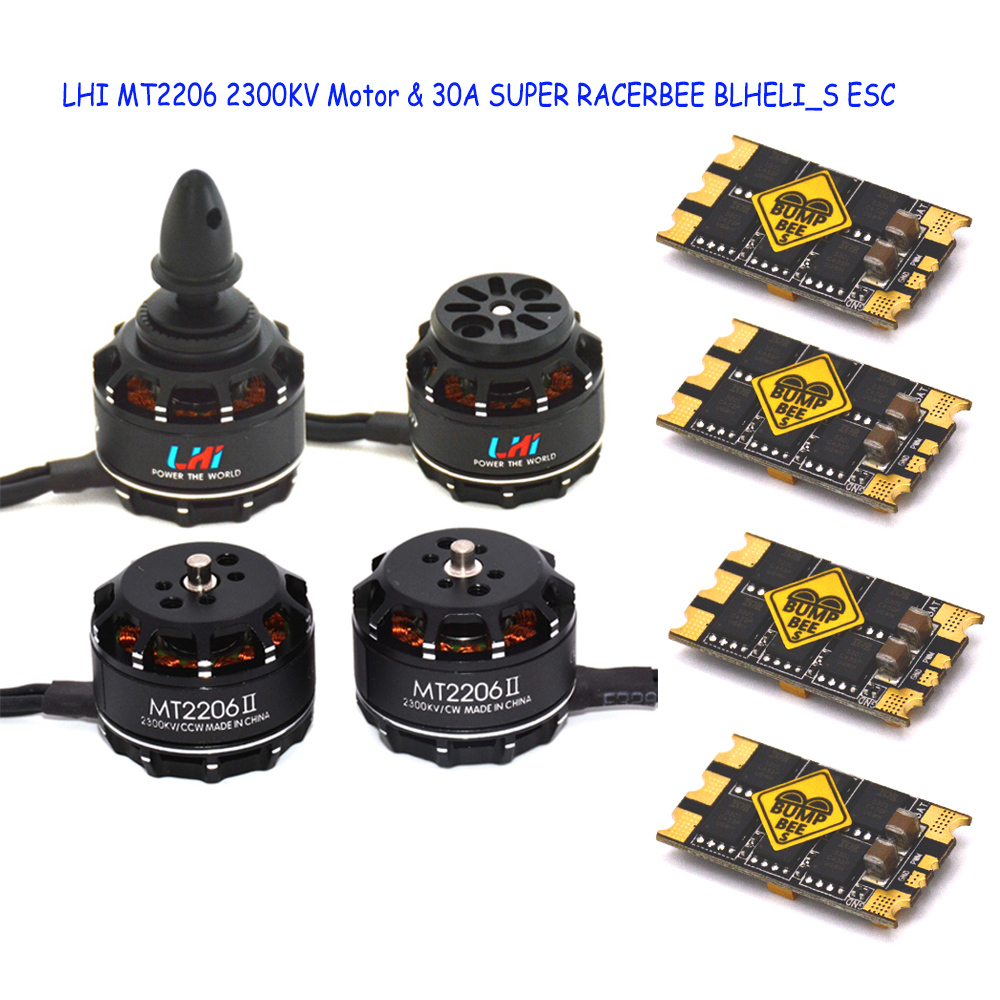 LHI FPV 4x MT2206 2300kv CW CCW FPV Brushless Motor (2-4S)+4 PCS 4 pcs 30A SUPER RACERBEE BLHELI_S (MUILTSHOT) Esc lhi mt2206 2300kv fpv brushless motor 2 4s 4x littlebee 30a esc blheli opto 2 6s supports oneshot125 for rc planes quadcopter