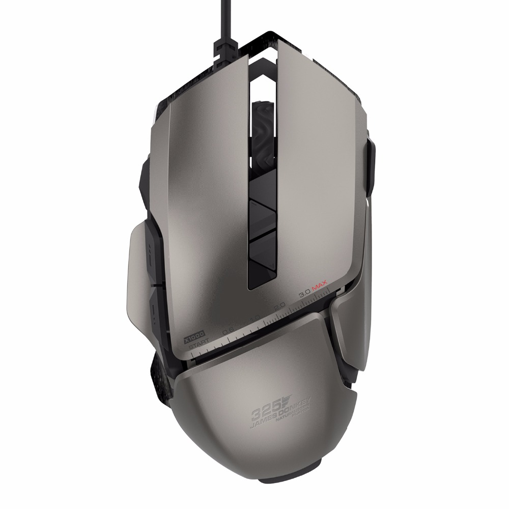 James Donkey 325RS USB Wired Laser Game Mus med 4 Justerbare 7200DPI 7 knapper Gaming Mouse til PC Laptop Desktop Souris Gamer