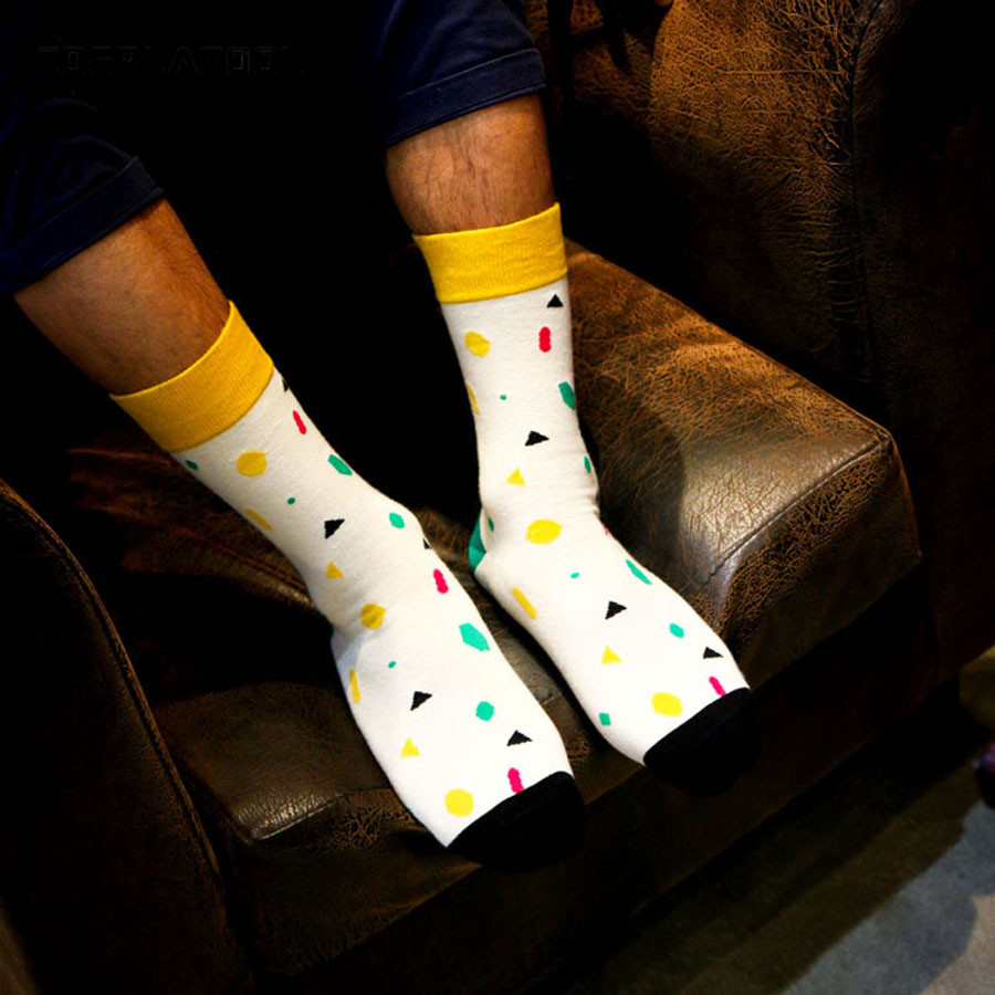 [COSPLACOOL] Summer New socks gentlemen fashion cotton colorful Quilted Jacquard line hit color business Leisure men socks