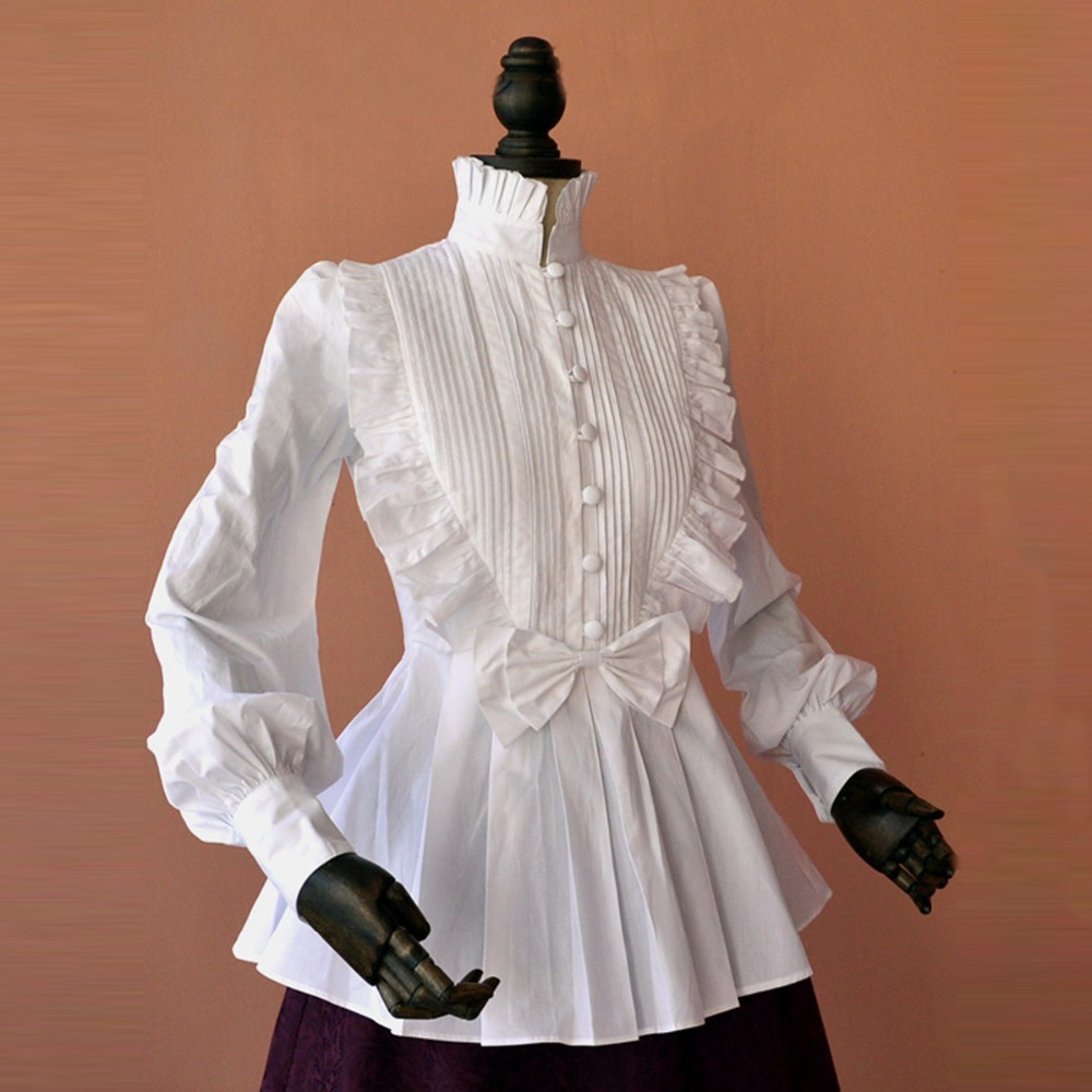 Spring women white Tops Vintage Victorian Ruffled Pleated shirts Lantern sleeve Ladies gothic blouse lolita costume Платье