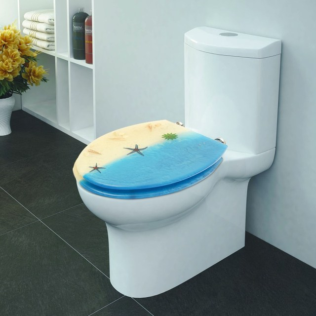 Bathroom Toilet Seat Cover Case Medium Density Fiberboard Mdf Beach Patterns Lid Washroom Protect