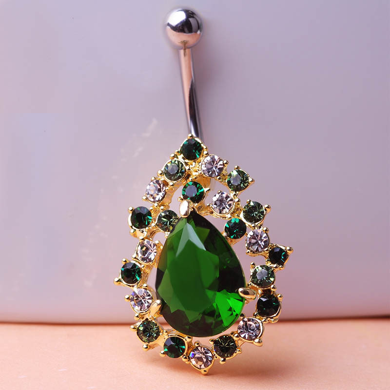 Big Green Rhinestone Rock Piercing Navel Ring 316LSteel Belly Button Ring Sexy Body Men font b