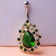 Big Green Rhinestone Rock Piercing Navel Ring 316LSteel Belly Button Ring Sexy Body Men Jewelry Violetta Gothic Personality