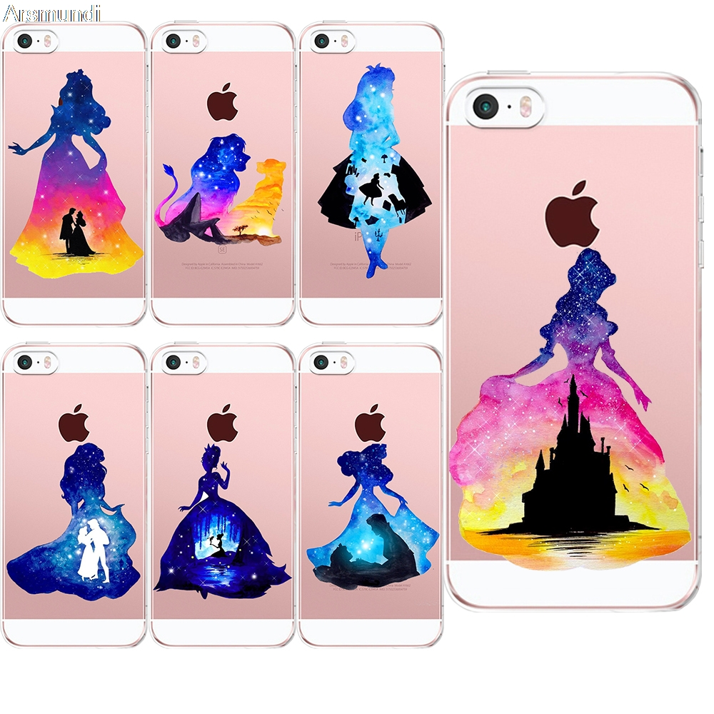 2018 New Fashion Watercolor Princess For Iphone 5C 5S 6 6S 7 8 Plus X For Oppo Case Crystal Clear Soft TPU Cover Cases