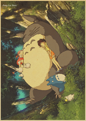 2017 Hayer animation set My neighbor adornment animated cartoon movie My Neighbor Totoro posters Kraft paper restoring