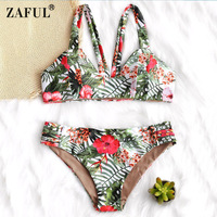 ZAFUL Swimwear Female 2018 Leaf And Flower Print Women Swimsuit Padded Bikini Set Swimwear Brazilian Biquni