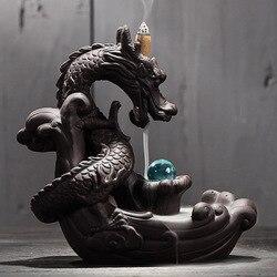 Керамика обратного ладан горелки творческий домашний декор Дракон держатель Кадило С хрустальный шар + шт. 20 шт.