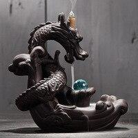 Керамический обратный поток благовоний горелка креативный домашний декор дракон ладан держатель курильница с хрустальным шаром + 20 шт благ...