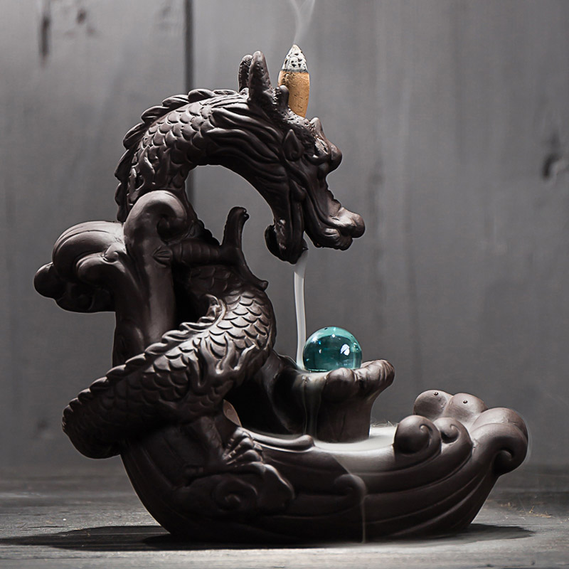 Ceramic Backflow Incense Burner Creative Home Decor Dragon Incense Holder Censer With Crystal Ball + 20Pcs Incense Cones