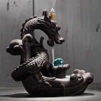 Quemador de incienso con flujo de retorno de cerámica creativo hogar Decoración dragón incienso titular Censer con bola de cristal + 20 piezas conos de incienso