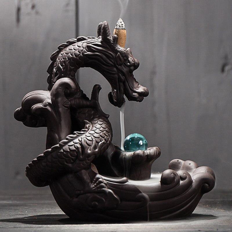 Quemador de incienso de fondo de cerámica creativo decoración del hogar dragón incienso soporte Censer con bola de cristal + unids 20 conos de incienso