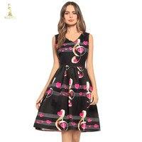 Summer Dress Celebrity inspired Women Elegant Vintage Retro Flower Floral Print Vest Dresses Sleeveless V Neck Vestido de Fiesta