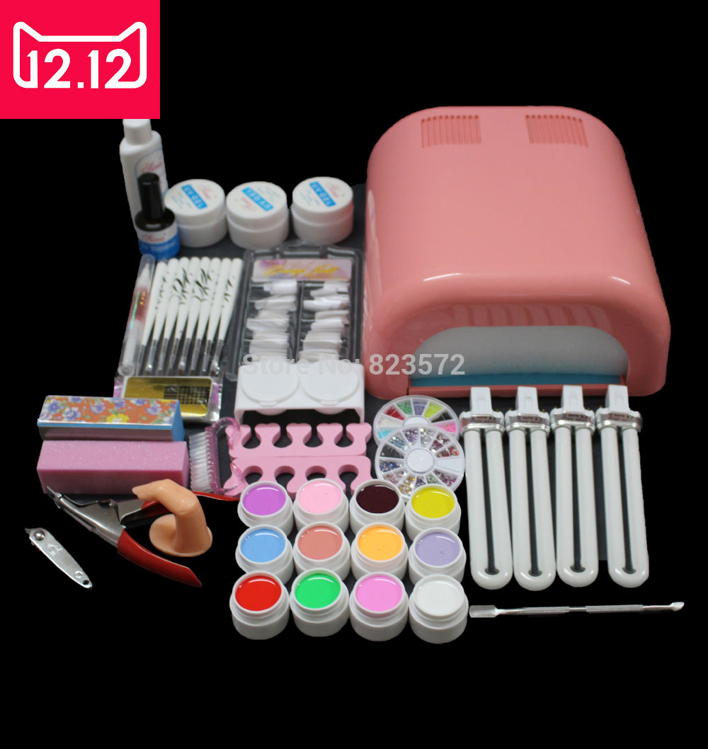 EM-92 Hot Sale nails gel Professional 36w Curing UV Dryer Lamp 12 Colours Nail Art Manicure Tools Kit For Beauty Nails 24 pcs hot sale golden rivet splicing nail art fake toe nails