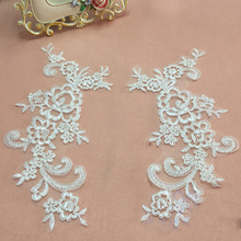 10Pieces Flower Embroidered Lace Applique Motif Lace Fabrics Venise Sew on Accessories Patches Scrapbooking Lace Dress 10pcs colorful lace applique wedding headband hair accessories venise lace beautiful flower floral motif appliques necklace