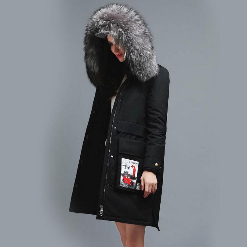 New Winter Real Raccoon Fur Collar Coat Zipper Slim Long Jacket Warm down jacket Woman fashion hooded parka s1111