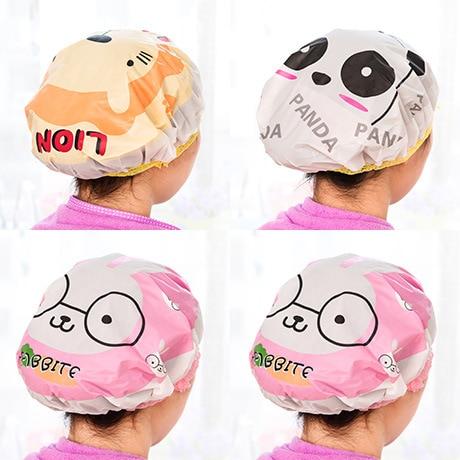 Owl cartoon shower bath cap women hat for baths and saunas lace elastic band cap spa cap women kids hair protective cap mkk headpiece