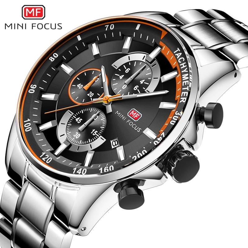 MINI FOCUS Men's Business Dress Watches Stainless Steel Luxury Waterproof Chronograph Quartz Wrist Watch Man Silver 0218G.03